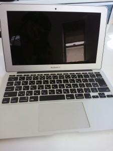 水没後、よくわからない状態のMacBookAir